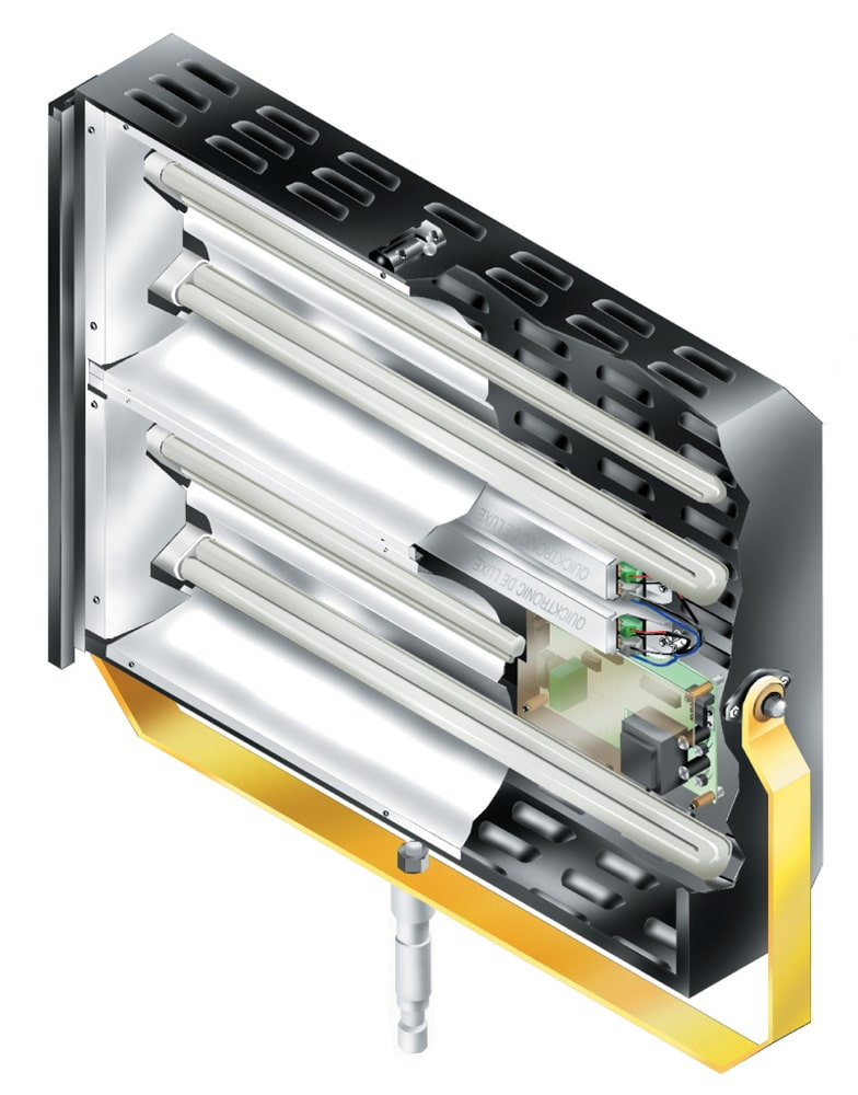 Aufbauprinzip eines typischen Weichlichtstrahlers mit Kompaktleuchtstofflampe für diffuses Licht, abgestrahlt über eine große Fläche