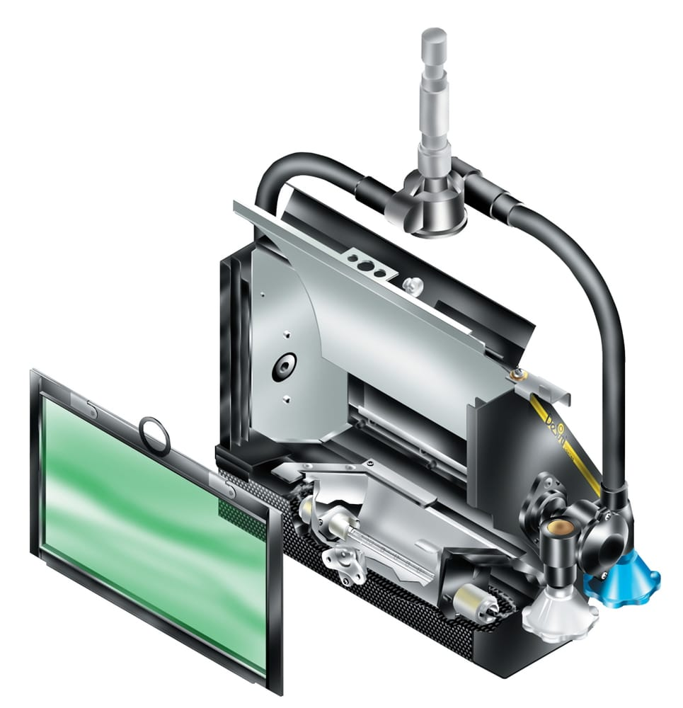 Aufbauprinzip eines typischen Weichlichtstrahlers: Das Leuchtmittel strahlt hart ab, Licht wird über den Reflektor gestreut und besitzt eine große Abstrahlfläche