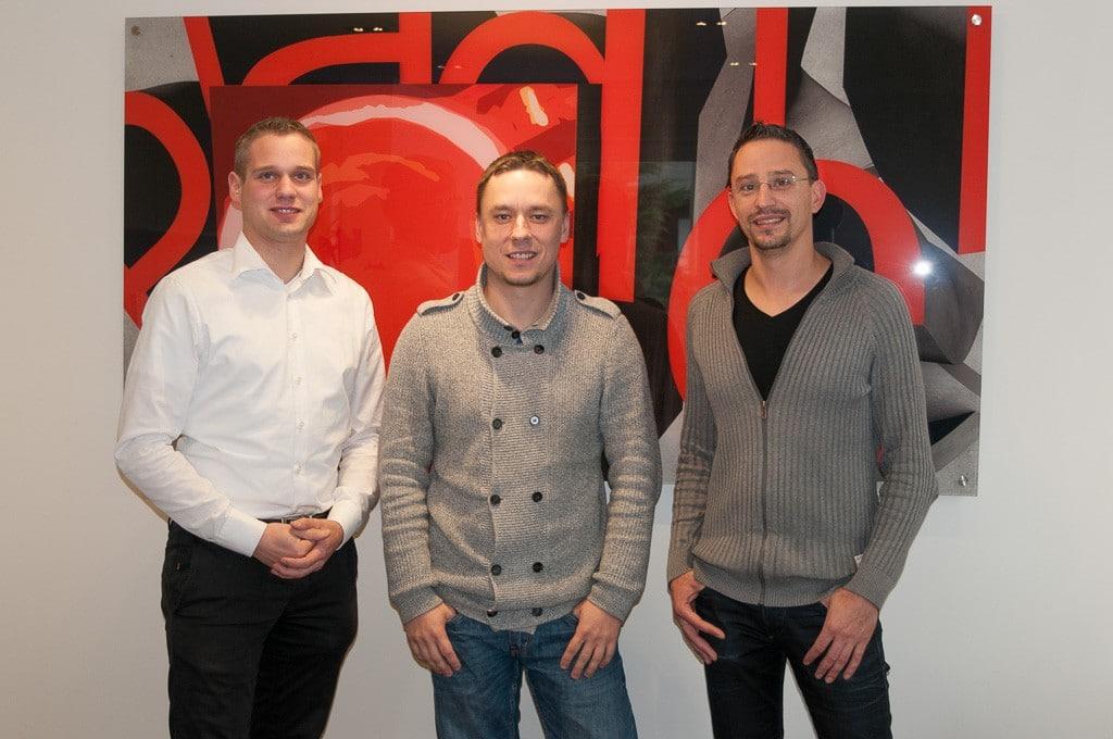 Johannes Pradler (l.) mit den Magdeburger Niederlassungsleitern Daniel Natho und Uwe Beholz
