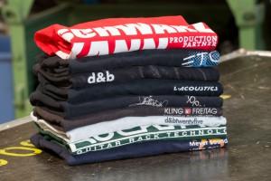 T-Shirts im Veranstaltungstechnik-Lager