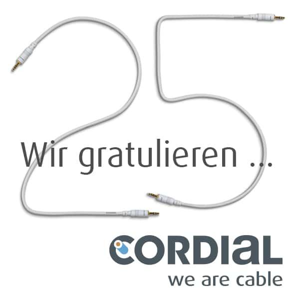 Cordial gratuliert zu 2 5Jahren PP