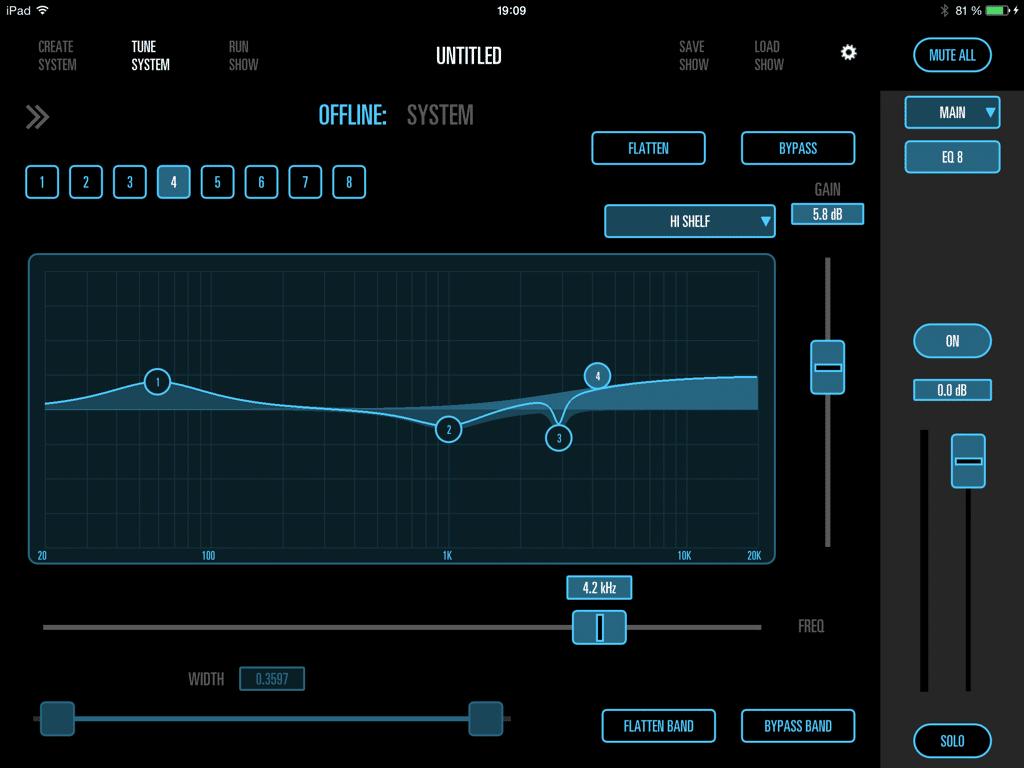 8-fach parametrischer EQ in der iPad App für die SRX835P