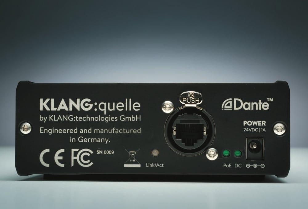Dante- und Netzteilanschluss auf der Rückseite – falls das Gerät nicht per POE versorgt wird