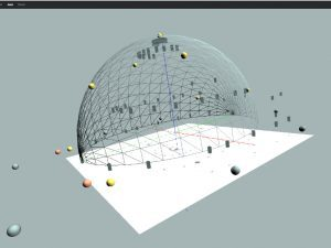 SpatialSound Wave im Opernhaus Zürich mit Lautsprechern (eckig) und Quellen (rund)