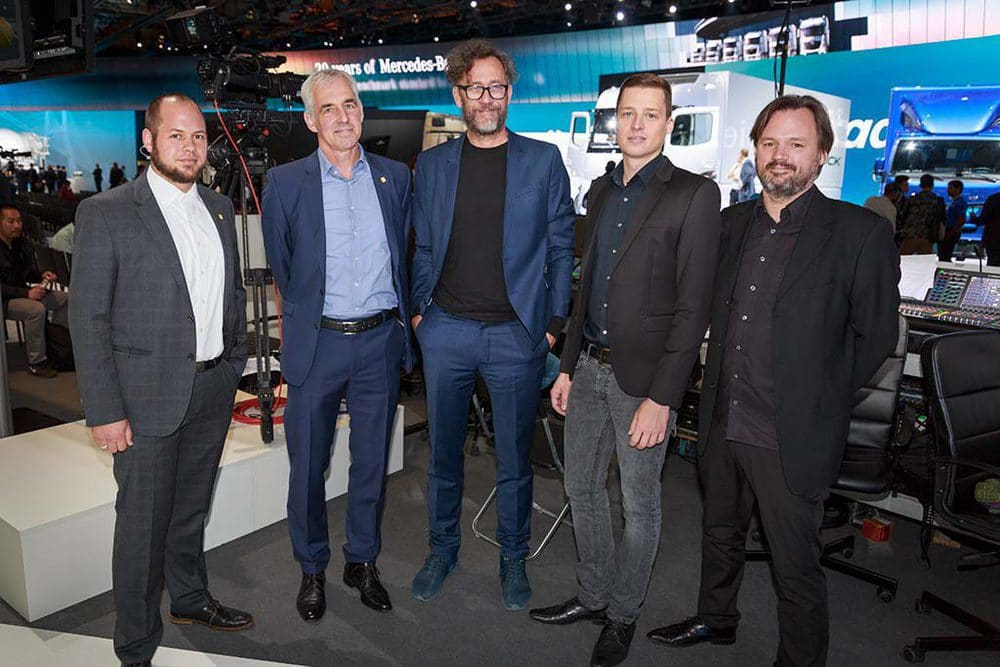 Audio Team: Felix Möhrle, Stephan Hartmann (beide N&M), Georg Stummer, Jan Bauknecht (N&M), Nicolai Wesselow (v.l.n.r.)