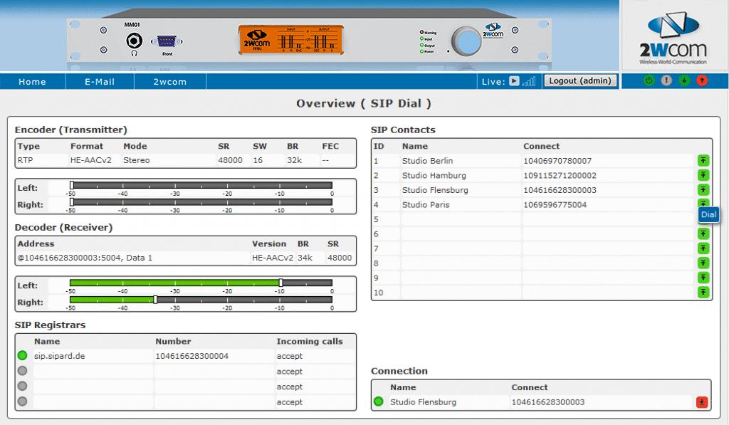 2WCOM MM01 Audio over IP Codec