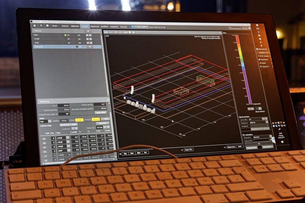 3D-Plot in d&b Array-Calc für die Show im Kölner Palladium