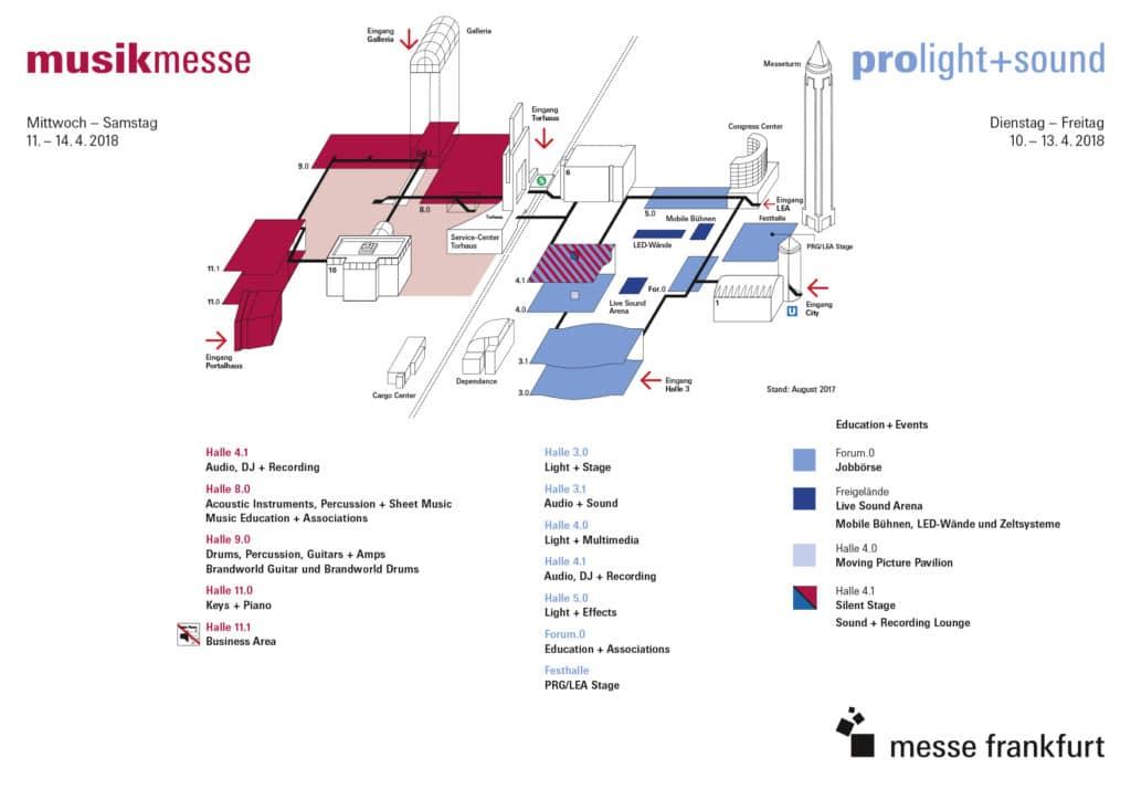 Geländeplan der Musikmesse und Prolight + Sound 2018