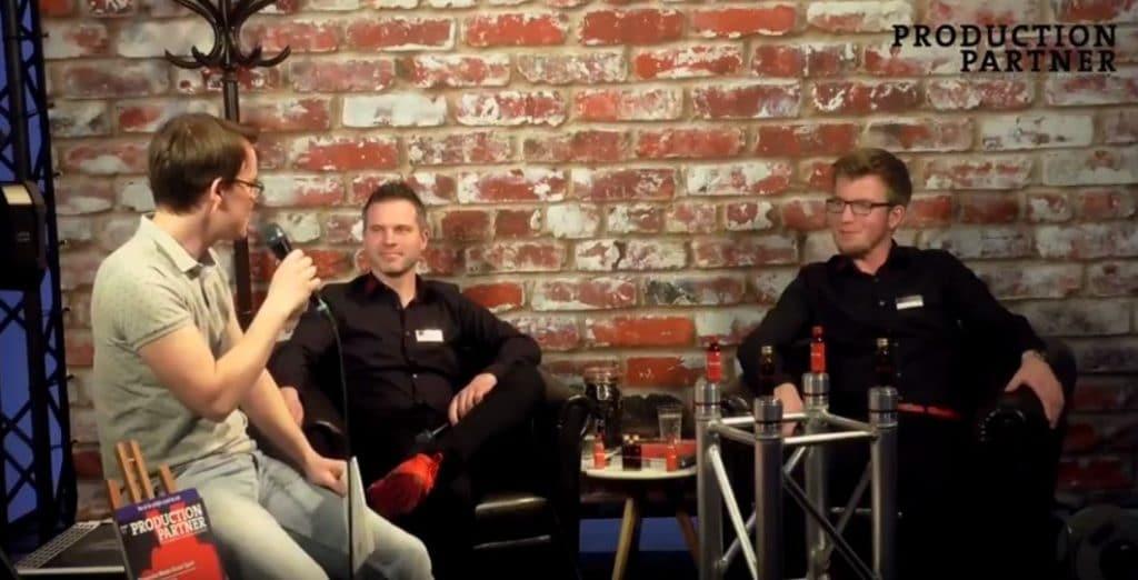 Dennis Klostermann und Marco Plüm von HOF Autec im Production Partner Live-Videostudio auf der Prolight + Sound 2018.