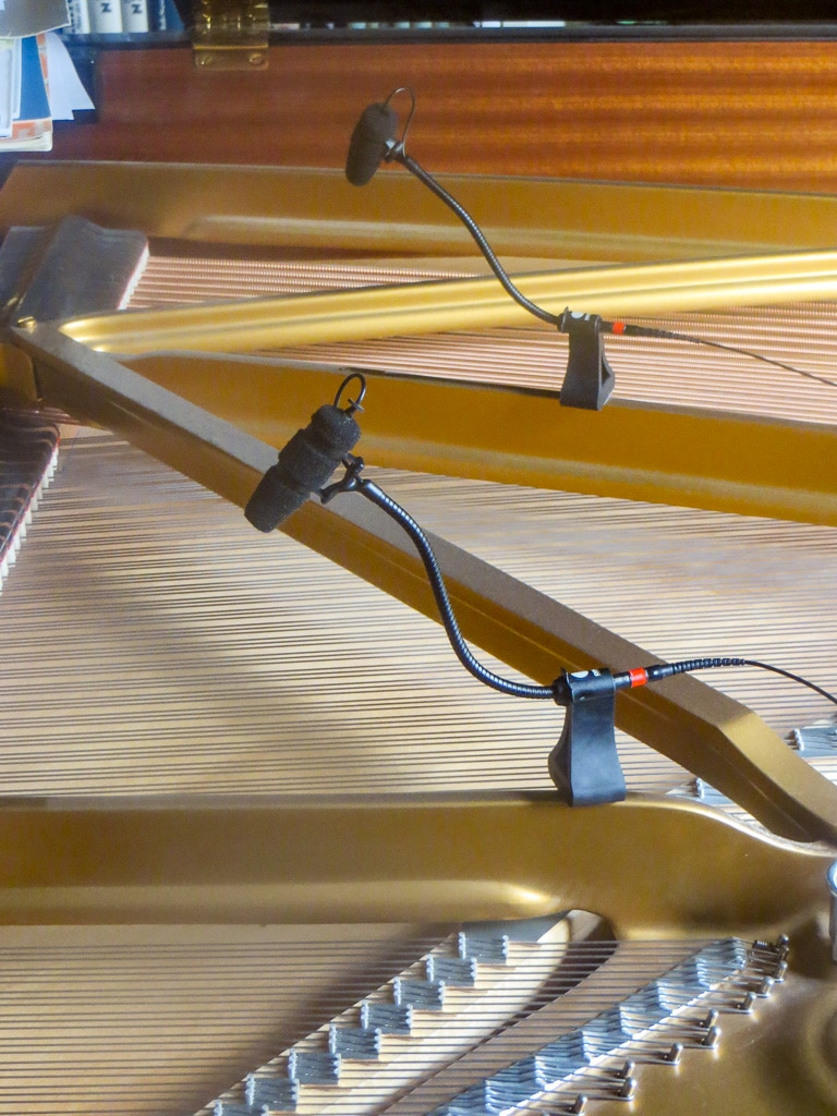 Das DPA d:vote CORE 4099 Instrumentenmikrofon klemmt zur Tonabnahme in einem Steinwayflügel