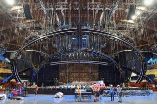 Bühnenaufbau beim Eurovision Song Contest 2018 in Portugal