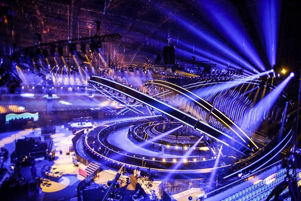 Blick auf die noch leere Bühne beim ESC 2018