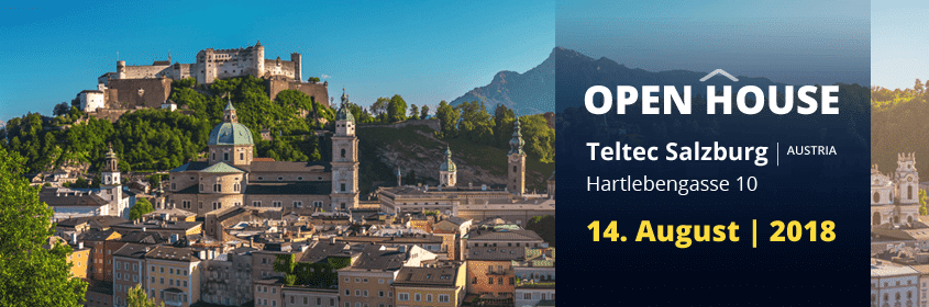 Offizielles Banner der Teltec AG zum Open House in Salzburg am 14. August 2018