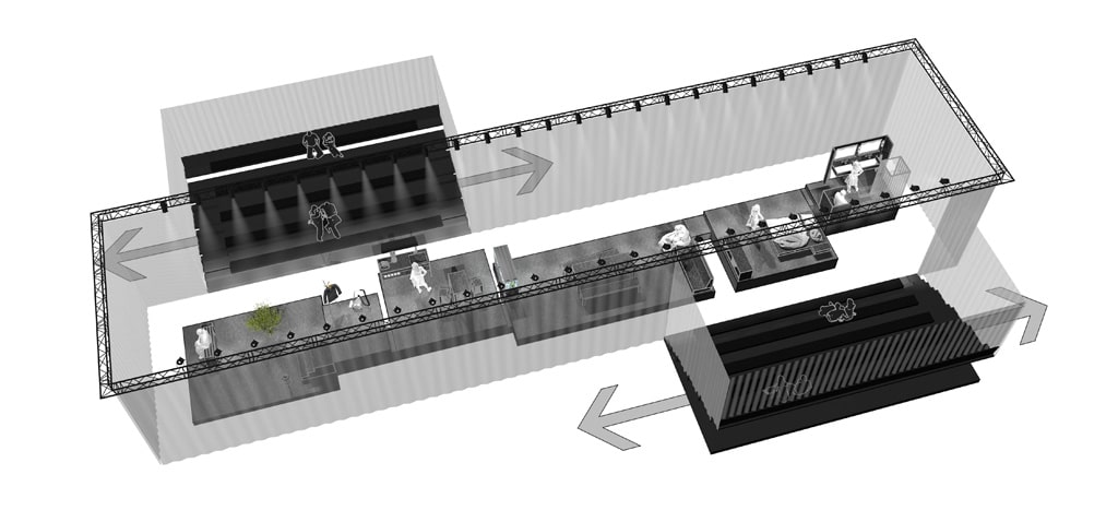 Rendering für den Bühnenbau des Musiktheaters Wir aus Glas