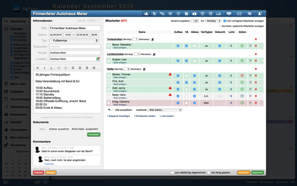 Screenshot Job-Übersicht des Personalplanungstools GigPlaner