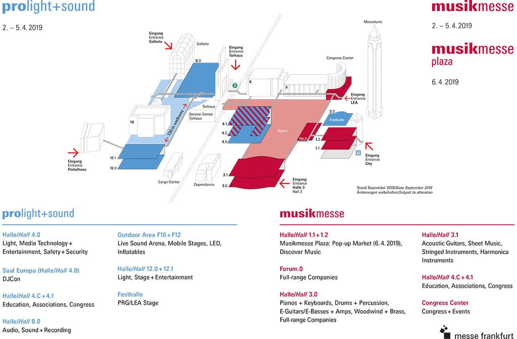 Neuer Geländeplan für die Prolight+Sound und die Musikmesse Frankfurt 2019