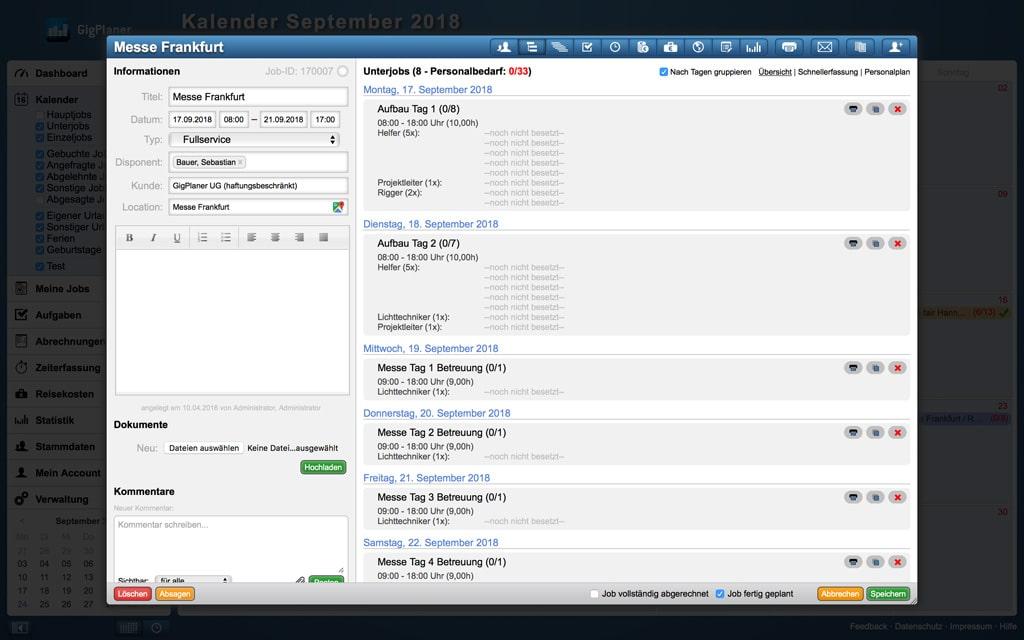 Screenshot Personalbedarf der Planungssoftware GigPlaner