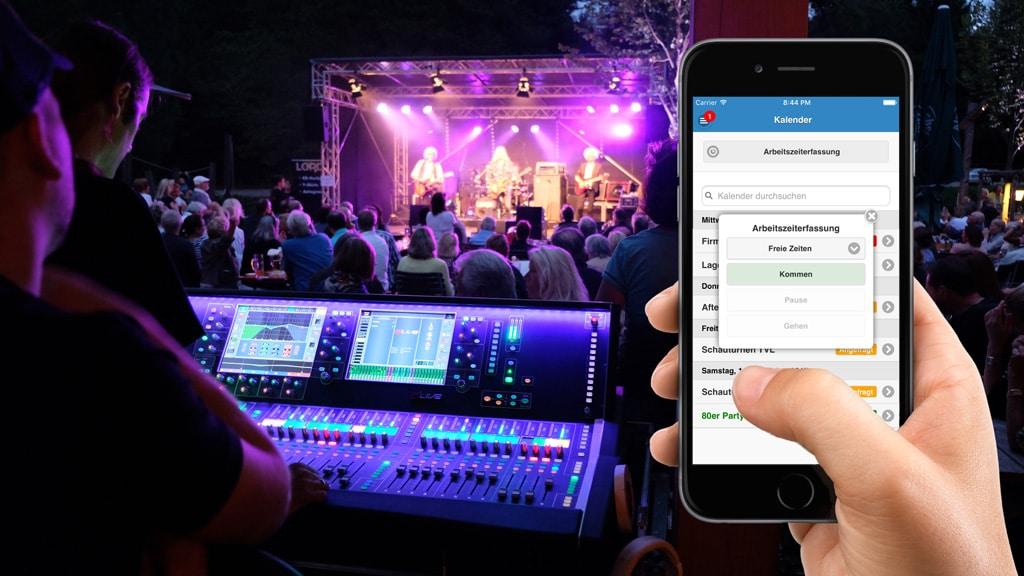 GigPlaner-Software im Einsatz am Smartphone