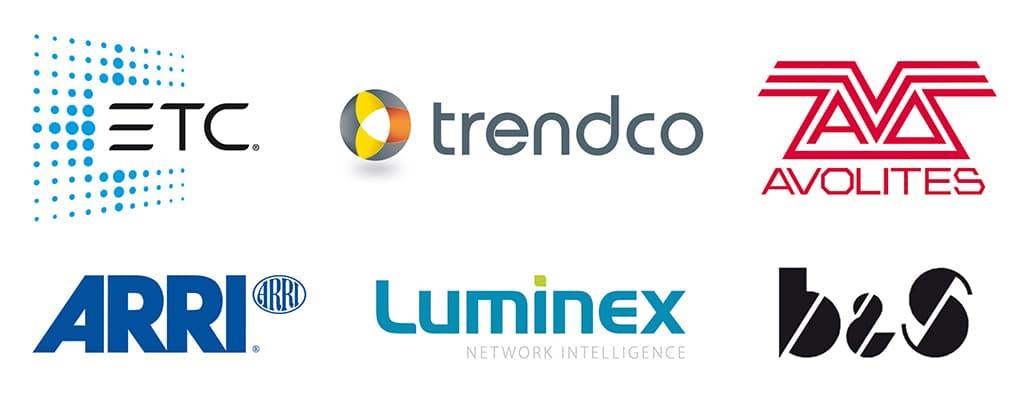 Logoleiste der Trendco Open Days 2018 mit ETC, Trendco, Avolites, ARRI, Luminex und B&S