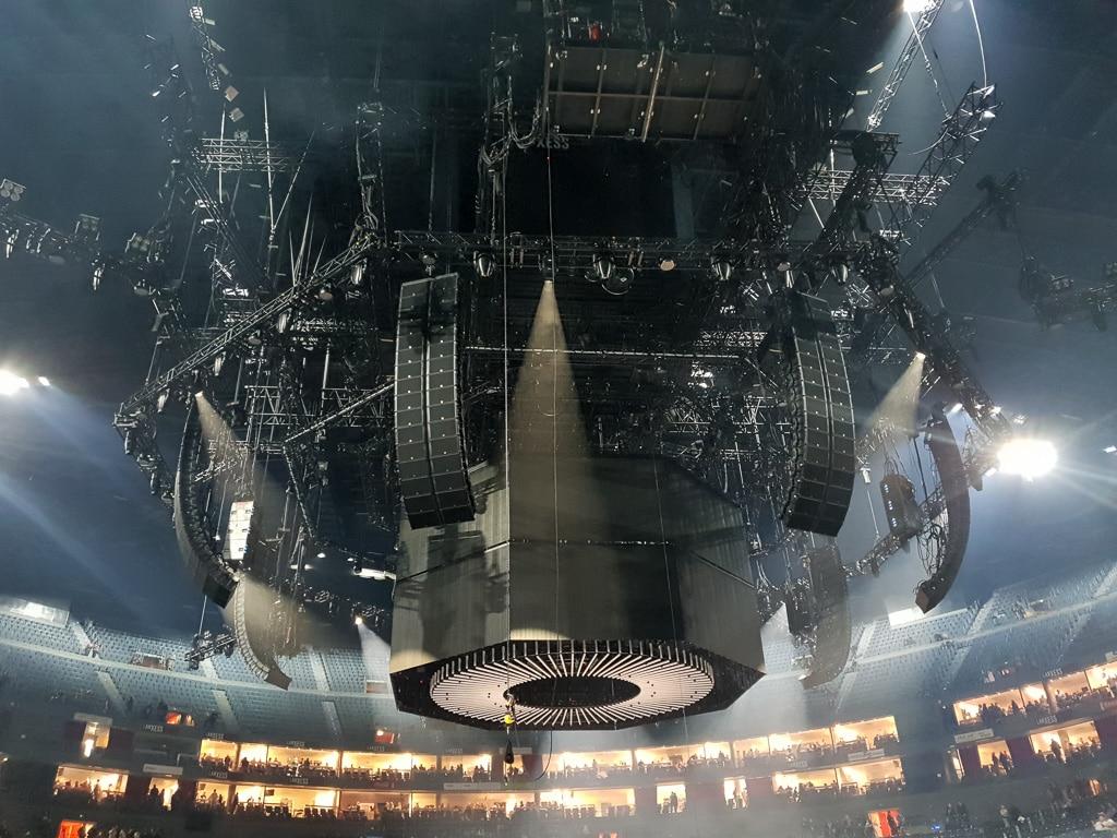 Rigg über der Center Stage in der Kölner Lanxess Arena für die PUR Arena Tour 2018