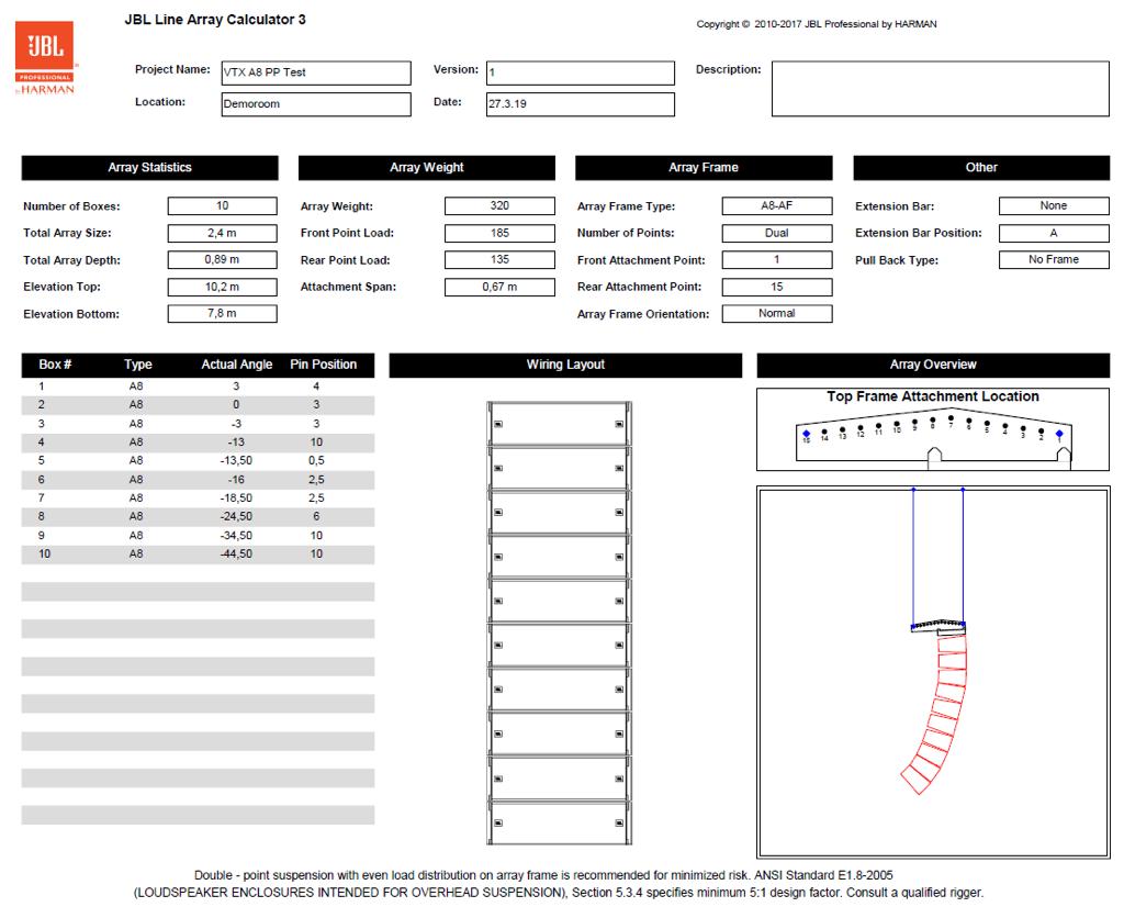 JBL Line-Array Calculator