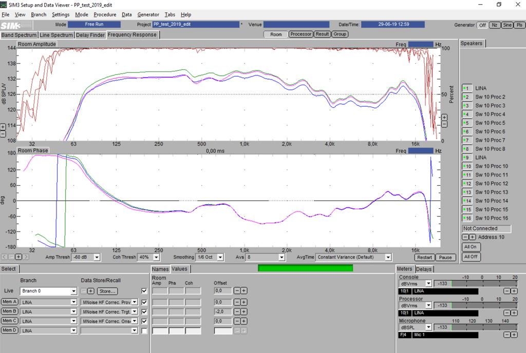 M-Noise-Messung mit dem Meyer Sound SIM3