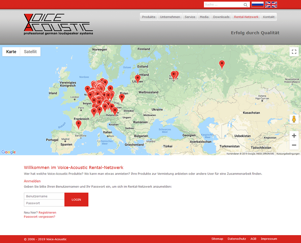 Voice Acoustic Rental Netzwerk auf der Firmenwebsite