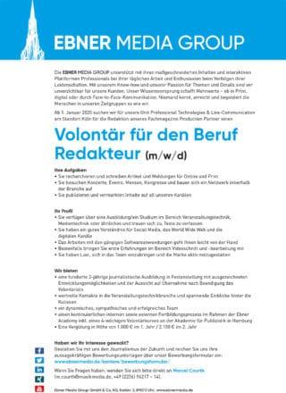 Stellenausschreibung Volontär (Print/Online) für die PRO-Gruppe