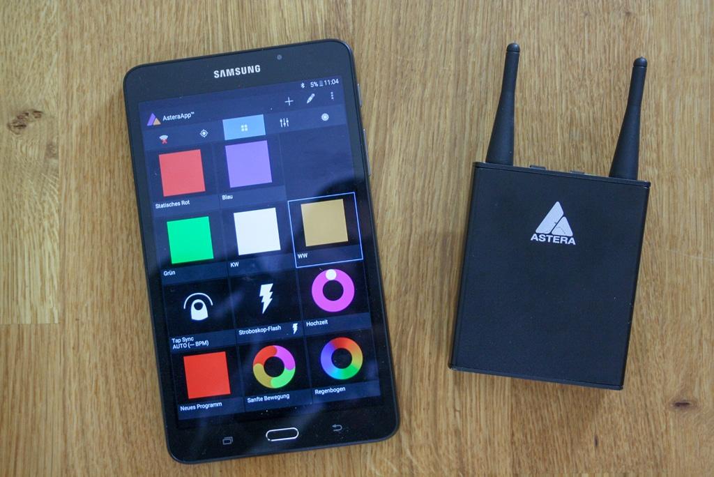Astera App und Empfängerbox