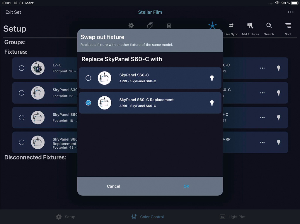 Appscreen: Austauschen von Scheinwerfern