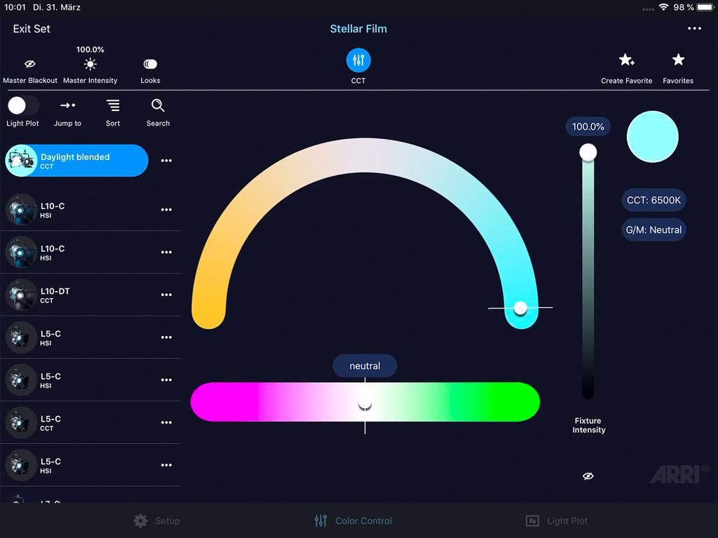 Appscreen: Gruppierung von Scheinwerfern mit unterschiedlichen Farbbereichen