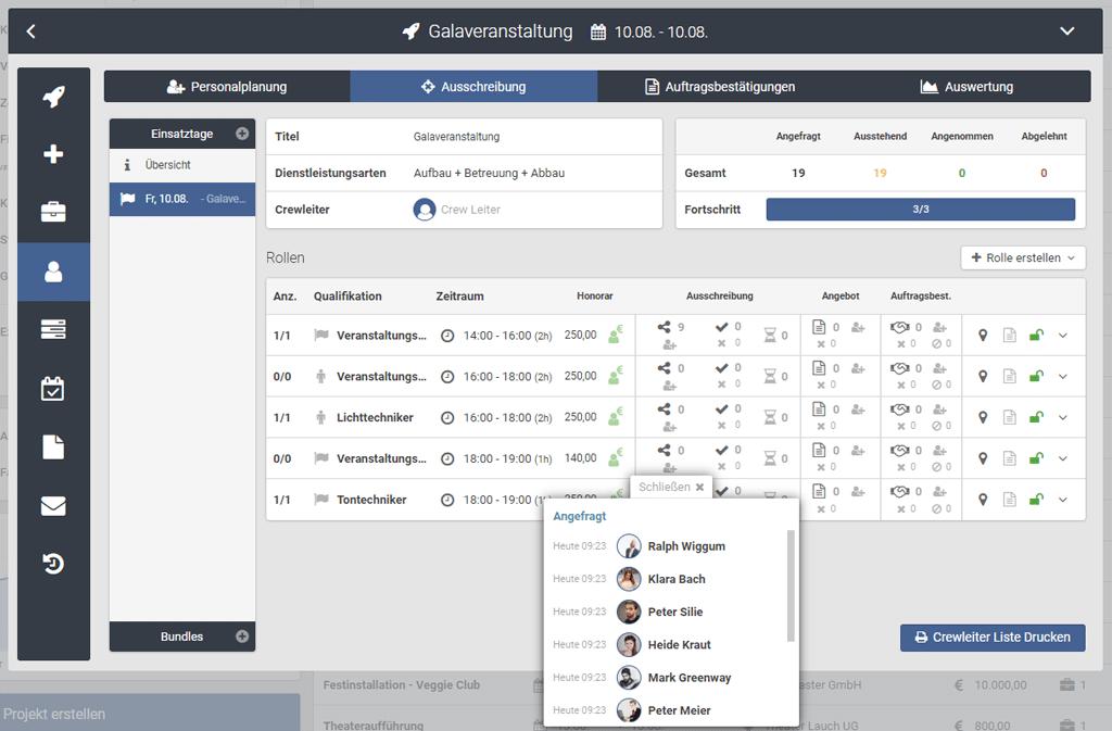 Screenshot Personalausschreibung