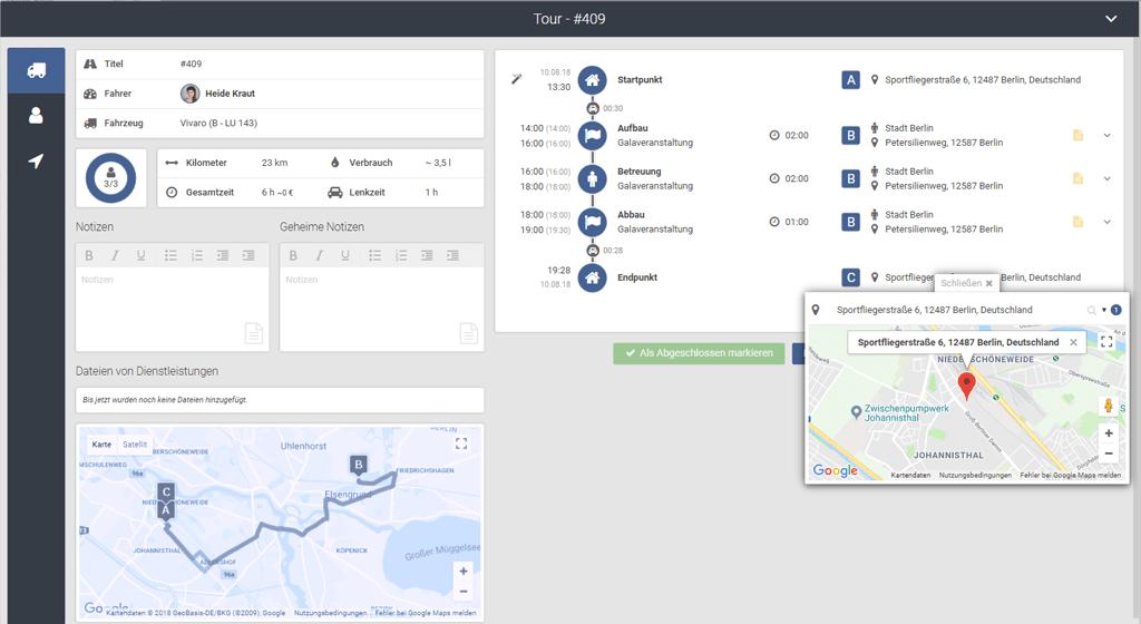 Screenshot Tourenplanung