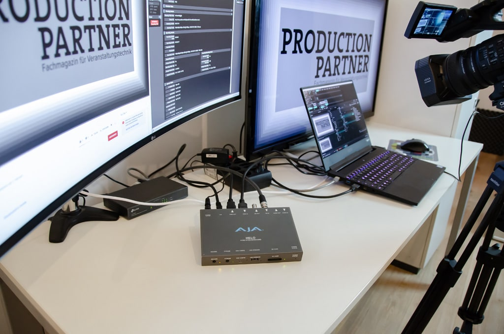 Setup Praxistest AJA Helo, Production Partner