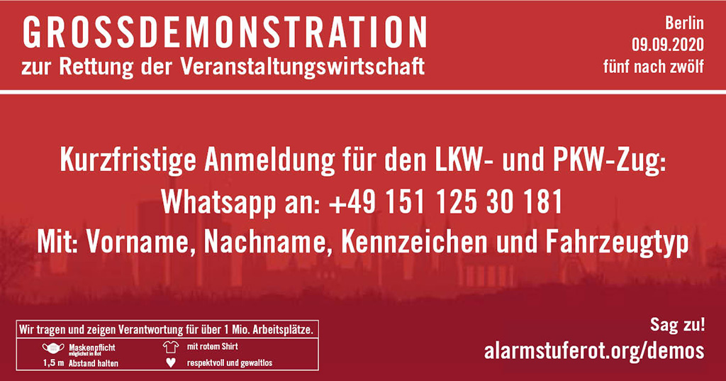 Alarmstufe Rot Whatapp Anmeldung zur Großdemo