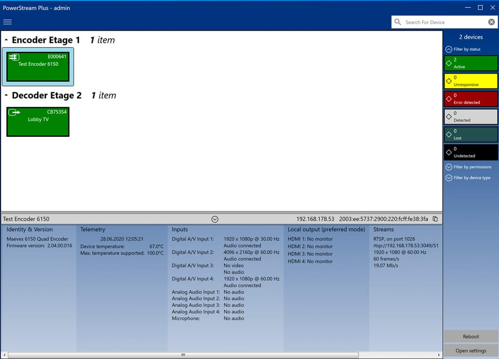 Matrox PowerStream Dashboard