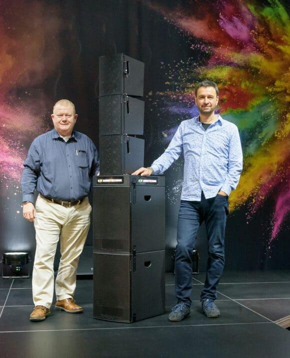 Markus Schmittinger und Michael von Keitz neben einer PA