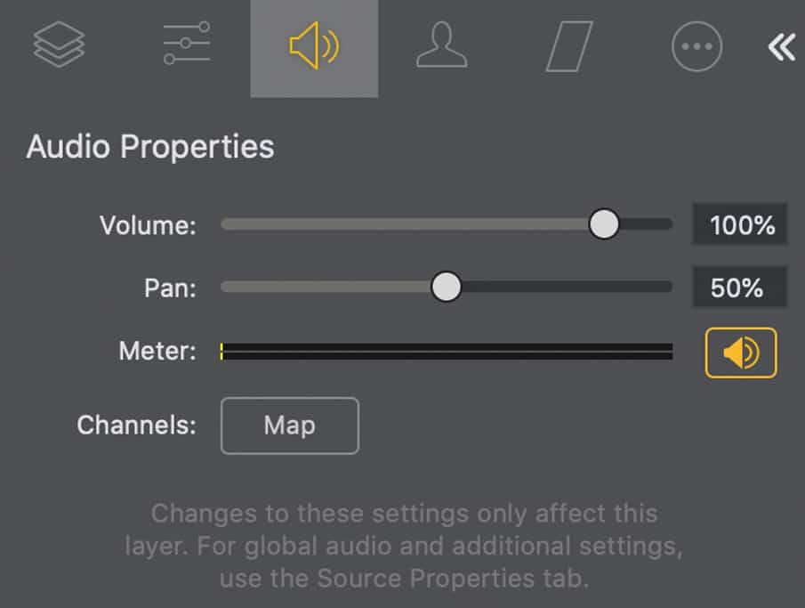 Audio Tab Wirecast Pro 14.2