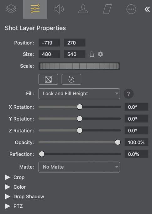 Shot Layer Eigenschaften Wirecast Pro 14.2