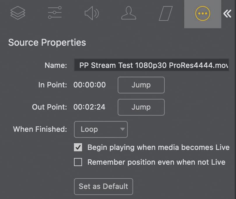 Übergangseinstellungen Wirecast Pro 14.2