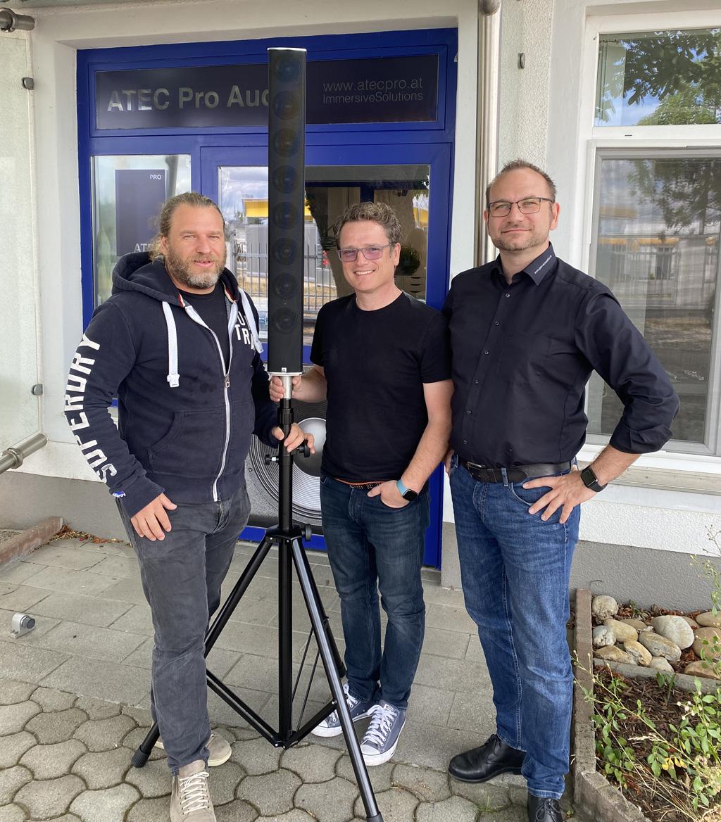 v.l.: Manfred Prochazka – Geschäftsführer ATEC Pro, Klaus Reim – Sales Engineer ATEC Pro, Johannes Kampert – Head of Global Sales Pan Acoustics