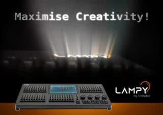 Produktflyer mit Lichtpult und Lichtstrahlen
